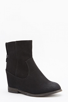 Suedette Wedged Boots