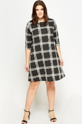Black Grid Check Shift Dress