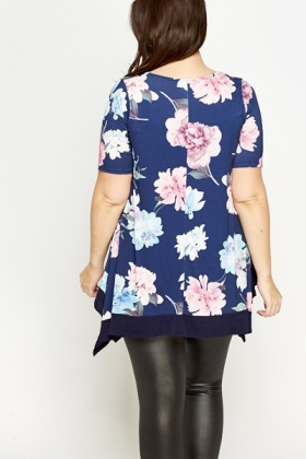 Blue Multi Floral Frill Hem Top