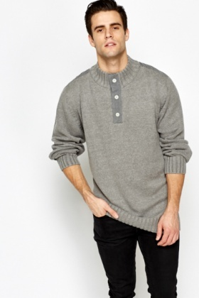 Button Up Ribbed Trim Jumper