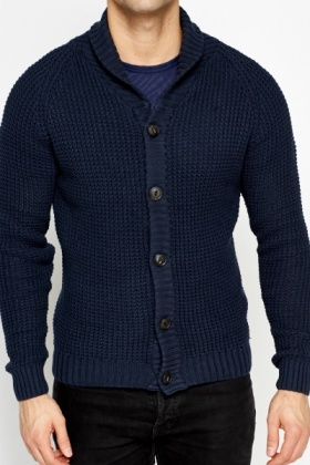 Collared Loose Knit Ribbed Cardigan