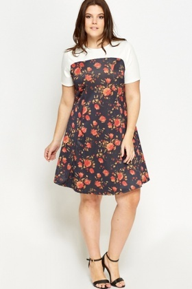 Floral Contrast Swing Dress