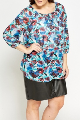 Mix Print Floral Tie Up Blouse