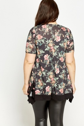 Multi Black Floral Tunic