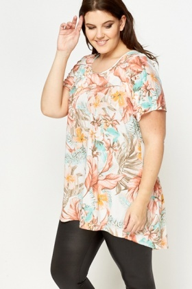 Peach Multi Print Tunic