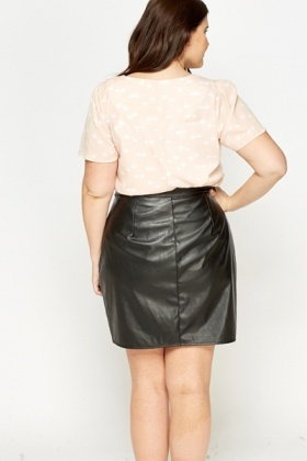 Peach Swan Pleated Top