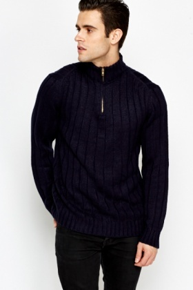Ribbed Zip High Neck Jumper