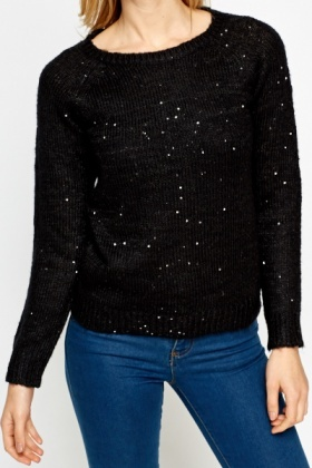 Black Knitted Sequin Jumper