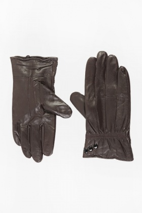 button Detail Faux Leather Gloves