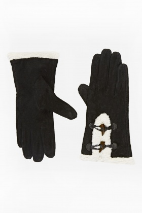 Contrast Faux Fur Trim Gloves