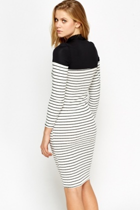 Contrast Neck Striped Midi Dress