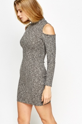 Cut Out Ribbed Bodycon Dress