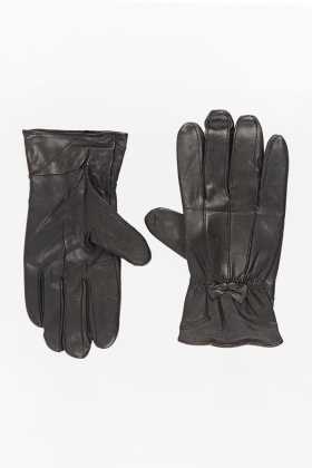 Faux Leather Bow Gloves