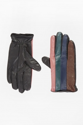 Faux Leather Colour Block Gloves