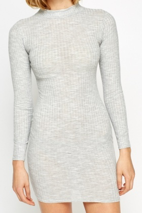 High Neck Grey Ribbed Dress