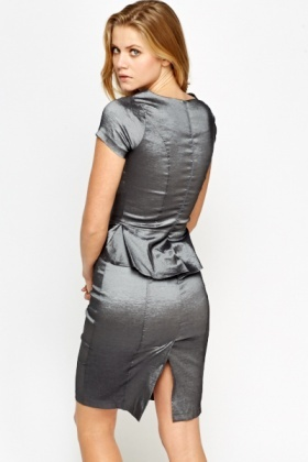 Metallic Peplum Shimmer Dress