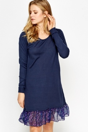 Navy Ruffle Hem Dress