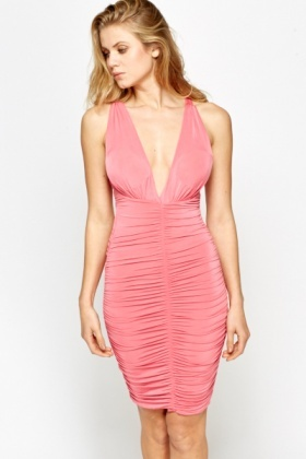 Plunge Ruched Strappy Dress