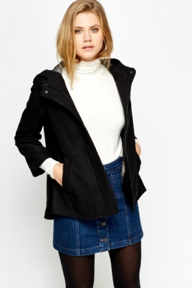 Short Hooded Black Jacket