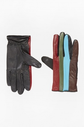 Striped Contrast Colour Gloves