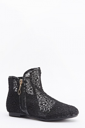 Black Floral Mesh Flat Boots
