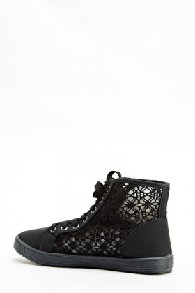 Black Mesh Contrast High Trainers