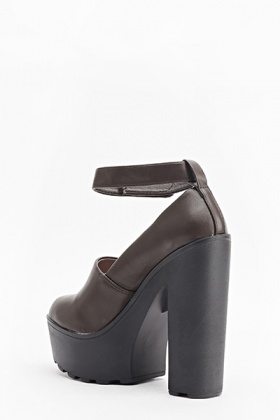 Block Heel High Chunky Shoes