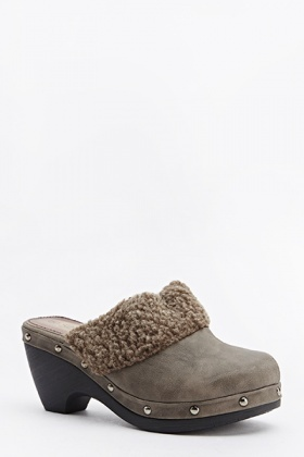Faux Fur Studded Slip On Shoes