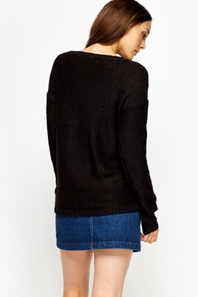Black Basic Plait Knit Jumper