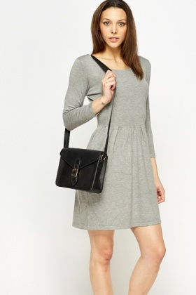 Grey Long Sleeve Skater Dress