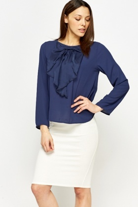 Large Bow Ruffled Blouse