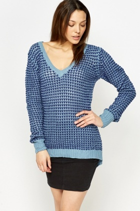 Loose Knit V-Neck Jumper