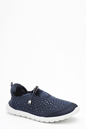 Slip On Encrusted Running Trainers