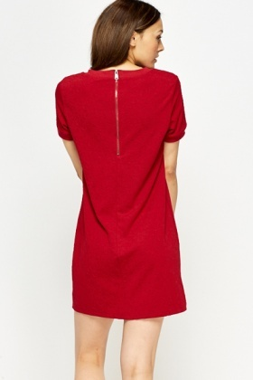 Textured Round Neck Shift Dress