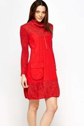 Turtle Neck Contrast Dress