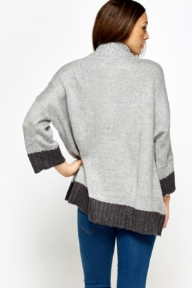 Two Tone Trim Knitted Cardigan
