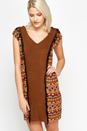 Aztec Panel Tassel Dress