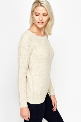Basic Knitted Ribbed Jumper