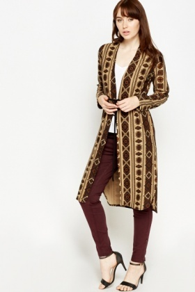 Beige Aztec Long Cardigan