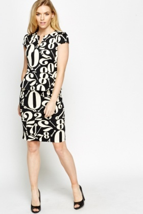Number Printed Peplum Dress