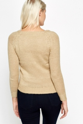 Round Neck Rib Knit Jumper