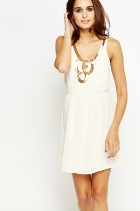 Sequin Chain Print Skater Dress