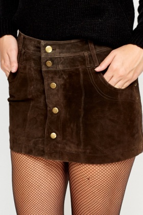 Suede Button Front Mini Skirt