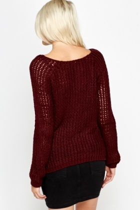 Wide Neck Loose Knit Jumper