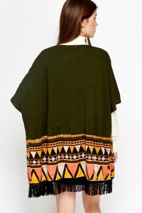 Aztec Trim Fringed Cardigan