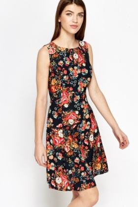 Black Floral Sleeveless Skater Dress