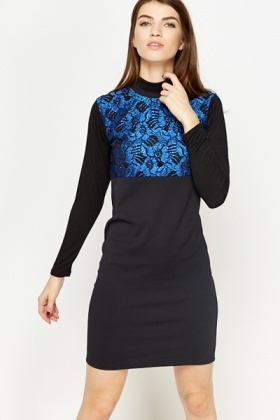 Blue Glitter Floral High Neck Dress