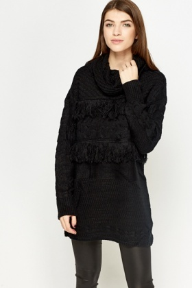 Cowl Neck Tassel Trim Jumper