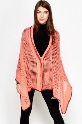 Loose Knit Button Up Poncho