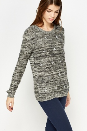 Metallic Loose Knit Encrusted Front Jumper